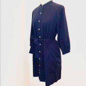 Everlane navy ribbed Cotton Collarless Belted Shirtdress size 6 or size medium.